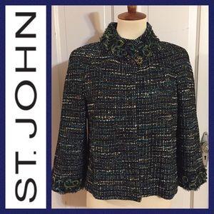 St. John Navy Blue Tweed Jacket. Size 6